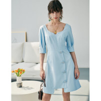 Dress Spring 2021 blue S,M,L Middle-skirt singleton  Short sleeve commute square neck High waist Solid color Socket Irregular skirt other Type H Pig house / gentle pig lady Button PPH2102CQ659 71% (inclusive) - 80% (inclusive) other polyester fiber