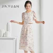 Dress Summer 2021 colour S M L longuette singleton  Short sleeve commute Crew neck High waist Broken flowers Socket A-line skirt routine 25-29 years old Type A Jinyuan printing More than 95% Chiffon polyester fiber Polyester 100% Same model in shopping mall (sold online and offline)