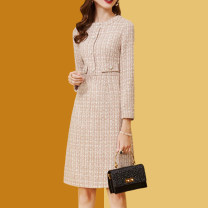 Dress Winter 2020 Apricot S,M,L,XL,XXL Middle-skirt singleton  Long sleeves commute Crew neck zipper routine Type H