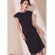 Dress Summer 2020 Black, Yu purple S,M,L,XL,2XL longuette singleton  Short sleeve commute Crew neck High waist Solid color Socket One pace skirt routine 30-34 years old Type H Ol style Panel, zipper 81% (inclusive) - 90% (inclusive)