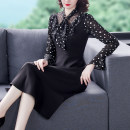 Dress Spring 2021 black M,L,XL,2XL,3XL longuette singleton  Long sleeves Crew neck middle-waisted Dot Socket A-line skirt routine 25-29 years old Type A Other / other Splicing Real shot 8960 Chiffon polyester fiber