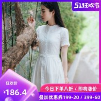 Dress Summer 2021 white XS,S,M,L,XL Mid length dress Two piece set Short sleeve commute stand collar middle-waisted Solid color Single breasted Big swing routine Others 25-29 years old Type A literature Embroidery, folds, pockets, stitching, buttons, temperament students L17008 More than 95% other