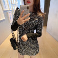 Dress Autumn of 2019 black S,M,L Short skirt Fake two pieces Long sleeves commute Crew neck High waist other zipper One pace skirt routine Others 18-24 years old Type X Fanshu's shop Stitching, sequins 51% (inclusive) - 70% (inclusive) other polyester fiber