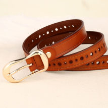 Belt / belt / chain Double skin leather White red black light brown coffee female belt leisure time Single loop youth Pin buckle Flower design alloy