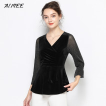 Lace / Chiffon Autumn 2020 black L,XL,2XL,3XL,4XL,5XL Nine point sleeve Versatile Socket Fake two pieces Self cultivation have cash less than that is registered in the accounts V-neck Solid color pagoda sleeve Gauze mesh, Sequin, stitching, swallow tail, bright silk, ruffle