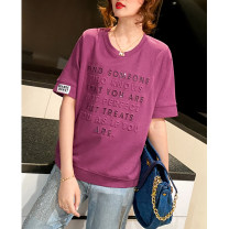 T-shirt Purple, bean paste powder M,L,XL,2XL Summer 2021 Short sleeve Crew neck easy Regular routine commute cotton 71% (inclusive) - 85% (inclusive) 30-39 years old Korean version originality letter Clothing music A2928 Sequins