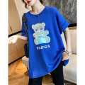 T-shirt Sapphire blue, dark night Average size Summer 2021 elbow sleeve Crew neck easy Regular raglan sleeve commute cotton 96% and above 30-39 years old Korean version originality Cartoon animation Clothing music A2805 Printed with diamond