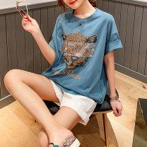 T-shirt Black, blue Average size Summer 2021 Short sleeve Crew neck easy Regular raglan sleeve commute cotton 86% (inclusive) -95% (inclusive) 30-39 years old Korean version Clothing music Diamond inlay