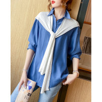 shirt royal blue , Cherry Blossom powder Average size Spring 2021 polyester fiber 96% and above Long sleeves commute Regular square neck Single row multi button raglan sleeve Solid color 35-39 years old Clothing music Korean version A2770 Button Synthetic fiber
