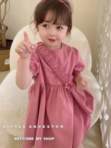 Dress female Other / other Other 100% summer Korean version Short sleeve Solid color other A-line skirt 2021-5-9-4 Seven years old, eight years old, 12 months old, three years old, six years old, 18 months old, nine months old, two years old, five years old, four years old Chinese Mainland
