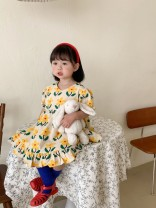 Dress yellow female Other / other 90cm,100cm,110cm,120cm,130cm Other 100% winter Korean version Short sleeve Broken flowers other A-line skirt 2021-4-12-2 other Chinese Mainland Guangdong Province Shenzhen City