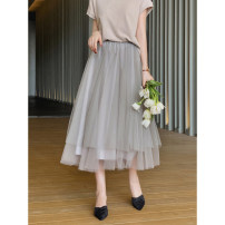 skirt Summer 2021 S,M,L Smoky grey Mid length dress Retro High waist Pleated skirt Solid color Type A Q3705 More than 95% Froth polyester fiber