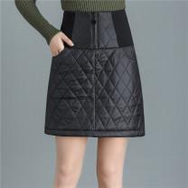skirt Winter 2020 M,L,XL,2XL,3XL,4XL black Short skirt commute High waist A-line skirt Solid color Type A 81% (inclusive) - 90% (inclusive) other Pocket, zipper Korean version