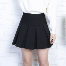 skirt Autumn 2020 M (1'8 to 2'1), l (2'1 to 2'3), XL (2'4 to 2'7) Gray, black Short skirt Versatile High waist Pleated skirt Solid color Type A 81% (inclusive) - 90% (inclusive)