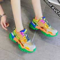 Low top shoes Other / other Round head Sequin cloth Internal elevation Middle heel (3-5cm) Deep mouth Netting Spring 2021 Frenulum Korean version Adhesive shoes Color matching genuine leather Single shoes Two layer pigskin daily Zt Face dressing