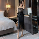 Dress Summer of 2019 black S M L Mid length dress singleton  Sleeveless commute One word collar High waist zipper One pace skirt camisole 25-29 years old Type H Agoyi / aibuyi Korean version 31% (inclusive) - 50% (inclusive) Lace nylon Pure e-commerce (online only)