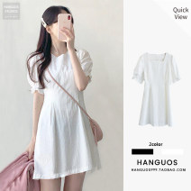 Dress Summer 2021 White, black S,M,L,XL Short skirt singleton  Short sleeve commute square neck High waist Solid color Socket A-line skirt puff sleeve Others 18-24 years old Type A Other / other Korean version cotton