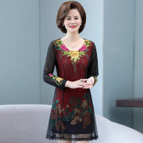 Middle aged and old women's wear Spring 2020 Decor 1 (rose red), decor 2 (Dahua red), decor 3 (trumpet green), decor 4 (trumpet red) XL,XXL,XXXL,4XL,5XL Dress easy Big flower 50-59 years old Conjoined moderate Crew neck Medium length Embroidery
