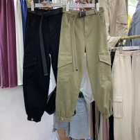 Casual pants Black with belt S [90-100kg], m [100-110kg], l [110-120kg], XL [120-135kg], 2XL [135-150kg], 3XL [150-165kg], 4XL [165-175kg], 5XL [175-200kg] Spring 2020 trousers Haren pants High waist 18-24 years old