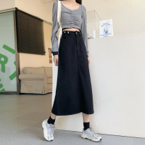 skirt Autumn 2020 S [80-95 kg], m [95-105], l [105-115 Jin], XL [115-125 Jin], 2XL [125-140 Jin], 3XL [140-160 Jin], 4XL [160-180 Jin], 5XL [180-200 Jin] black Mid length dress commute High waist A-line skirt Solid color Type A 18-24 years old 31% (inclusive) - 50% (inclusive) pocket Korean version