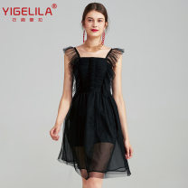 Dress Summer 2021 black S,M,L Short skirt singleton  Sweet High waist Solid color zipper Princess Dress Princess sleeve camisole 25-29 years old Type A Yigelila Splicing, mesh 81% (inclusive) - 90% (inclusive) other other Ruili