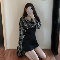 Dress Autumn 2020 Picture color S,M,L Short skirt singleton  Long sleeves commute Polo collar High waist lattice Socket One pace skirt routine 18-24 years old Type A Korean version 81% (inclusive) - 90% (inclusive)