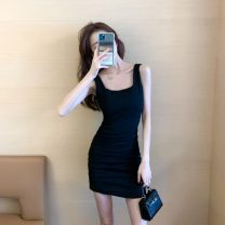 Dress Spring 2021 Black, blue grey S,M,L,XL Short skirt singleton  Sleeveless commute square neck High waist Solid color Socket One pace skirt 18-24 years old Type H Korean version 81% (inclusive) - 90% (inclusive)
