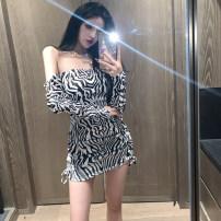 Dress Spring 2021 Zebra S,M,L Short skirt singleton  Long sleeves commute One word collar High waist Zebra pattern Socket One pace skirt routine 18-24 years old Korean version 81% (inclusive) - 90% (inclusive)