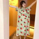 Nightdress Other / other Lemon yellow, strawberry powder, mint green Average size Cartoon Short sleeve Leisure home longuette summer Cartoon animation youth Small lapel cotton printing More than 95% Knitted cotton fabric