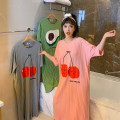 Nightdress Other / other Green avocado, pink cherry, apricot avocado, gray cherry Average size Sweet Short sleeve Leisure home longuette summer Cartoon animation youth Crew neck cotton printing More than 95% Knitted cotton fabric