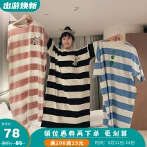 Nightdress Other / other Banana, Tibetan blue, peach powder, sky blue grape Average size Sweet three quarter sleeve Leisure home longuette spring stripe youth Crew neck cotton printing More than 95% Knitted cotton fabric