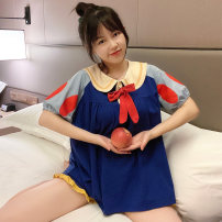 Pajamas / housewear set female Other / other M, L Suit, nightdress cotton Short sleeve Cartoon Leisure home summer routine Small lapel Cartoon animation shorts Socket youth 2 pieces rubber string More than 95% Knitted cotton fabric printing