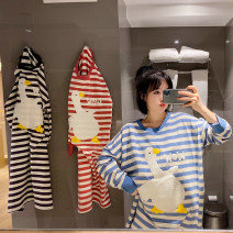 Nightdress Other / other Blue and white, red and white, brown and white Average size Cartoon Long sleeves Leisure home longuette spring stripe youth Crew neck cotton Embroidery