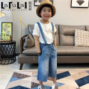 trousers La Fleur female blue summer Ninth pants leisure time There are models in the real shooting Jeans Leather belt Cotton denim Cotton 100%