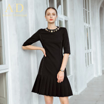 Dress Spring 2020 black S,M,L,XL,2XL,3XL Middle-skirt singleton  elbow sleeve commute Crew neck middle-waisted Solid color Socket A-line skirt routine Others 25-29 years old AD Ol style 81% (inclusive) - 90% (inclusive) polyester fiber