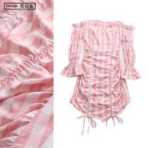 Dress Spring 2020 Pink S,M,L Short skirt singleton  Long sleeves commute One word collar High waist lattice Socket One pace skirt pagoda sleeve Others Type X TRAF Korean version