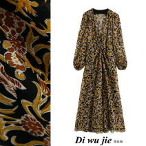 Dress Autumn 2020 Black gold XS,S,M,L longuette singleton  Long sleeves street V-neck High waist Decor Socket A-line skirt bishop sleeve Others Type X TRAF printing More than 95% Chiffon Europe and America