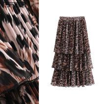 skirt Spring 2020 S,M,L Leopard Brown longuette street High waist Cake skirt Leopard Print Type A Chiffon TRAF Europe and America