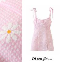 Dress Summer 2020 Cherry Blossom powder S,M,L Short skirt singleton  Sleeveless Sweet High waist lattice zipper One pace skirt camisole Type X printing 51% (inclusive) - 70% (inclusive) cotton Countryside