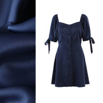 Dress Summer 2020 Navy Blue S,M,L Miniskirt singleton  Long sleeves commute square neck High waist Solid color Socket A-line skirt puff sleeve Others 25-29 years old Type A TRAF lady Hollowing out More than 95% cotton