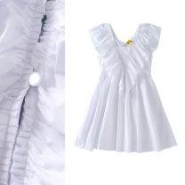 Dress Summer 2020 white S,M,L Short skirt singleton  Short sleeve commute V-neck High waist Solid color Socket A-line skirt Flying sleeve Others Type X TRAF Korean version Lotus leaf edge Poplin
