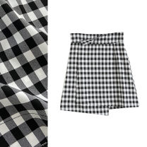 skirt Winter of 2019 S,M,L,XL Black and white Short skirt Retro High waist A-line skirt lattice Type A 18-24 years old More than 95% TRAF polyester fiber