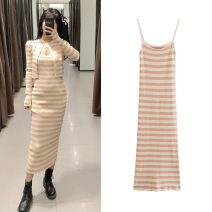 Dress Summer of 2019 Color matching S,M,L longuette singleton  Sleeveless street One word collar High waist stripe Socket One pace skirt camisole 18-24 years old Type X TRAF Print, lace, bandage More than 95% knitting Europe and America