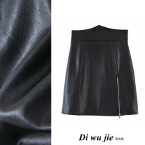 skirt Winter 2020 S,M,L black Short skirt street High waist Little black dress Solid color Type A 18-24 years old TRAF PU Asymmetry Europe and America