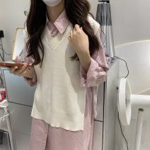 shirt Pink shirt, shawl Average size Spring 2021 cotton 51% (inclusive) - 70% (inclusive) Long sleeves commute Regular Crew neck Single row multi button routine Solid color 18-24 years old Self cultivation Embroidery