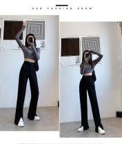 Casual pants black S(80-99),M(100-111),L(112-121),XL(122-133),XXL(134-150) Winter 2020 Ninth pants Wide leg pants High waist Versatile thickening 18-24 years old 51% (inclusive) - 70% (inclusive) 3041 split other Sticking cloth spandex