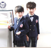 School uniform / school uniform customization Boys (coat + shirt + pants + bow tie) girls (coat + shirt + skirt + bow tie) 100cm 110cm 120cm 130cm 140cm 150cm 160cm neutral spring and autumn college Class A Single breasted Long sleeve + skirt