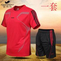Leisure sports suit summer M. L, XL, 2XL, 3XL, 4XL (180 kg), 5XL (195 kg), 6xl (215 kg), 7XL (235 kg), 8xl (255 kg) Sapphire blue, gray, white, red, fluorescent green, black Short sleeve FGN / rich bird Pant middle age T-shirt B523---1902 polyester fiber 2020 95% polyester 5% spandex