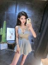 Dress Summer 2021 Gray, black Average size Miniskirt singleton  Sleeveless commute Solid color 18-24 years old Korean version Splicing