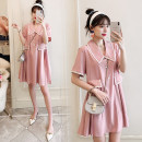 Dress Other / other Pink , Collection and purchase ⭐ priority in delivery , Pink ( Quality Edition ) M,L,XL,XXL Korean version Short sleeve routine summer Lapel Solid color
